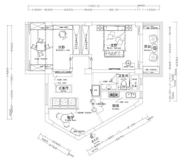 改造设计图(图上写的餐厅,后来这个区域只作为了单纯的玄关)